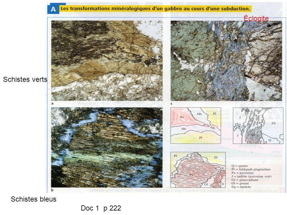 Éclogite Schistes verts Schistes bleus Doc 1 p 222