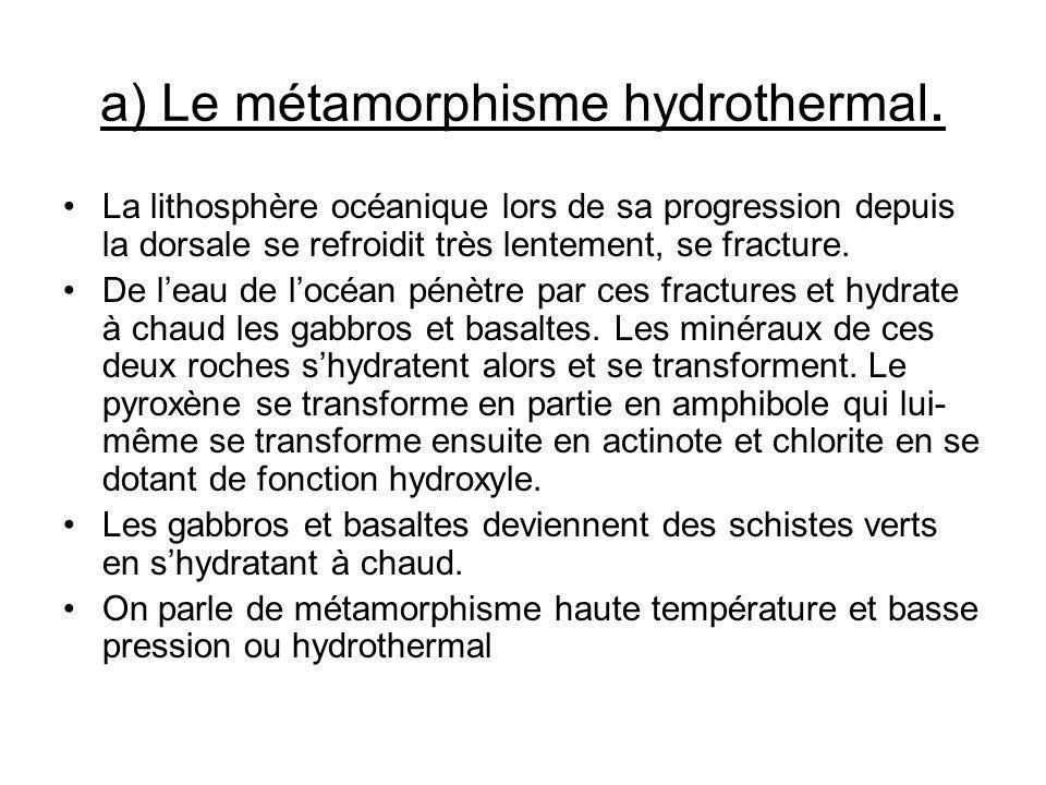 a) Le métamorphisme hydrothermal.