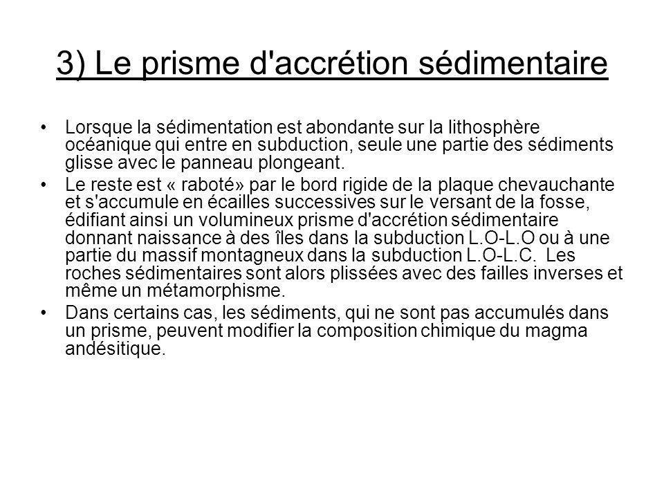 3) Le prisme d accrétion sédimentaire