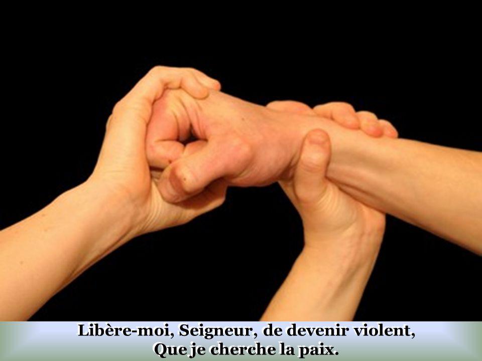 Libère-moi, Seigneur, de devenir violent, Que je cherche la paix.