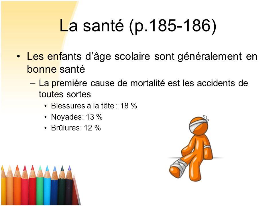 La santé (p.185-186) Les enfants d'âge scolaire sont généralement en bonne santé. La première cause de mortalité est les accidents de toutes sortes.