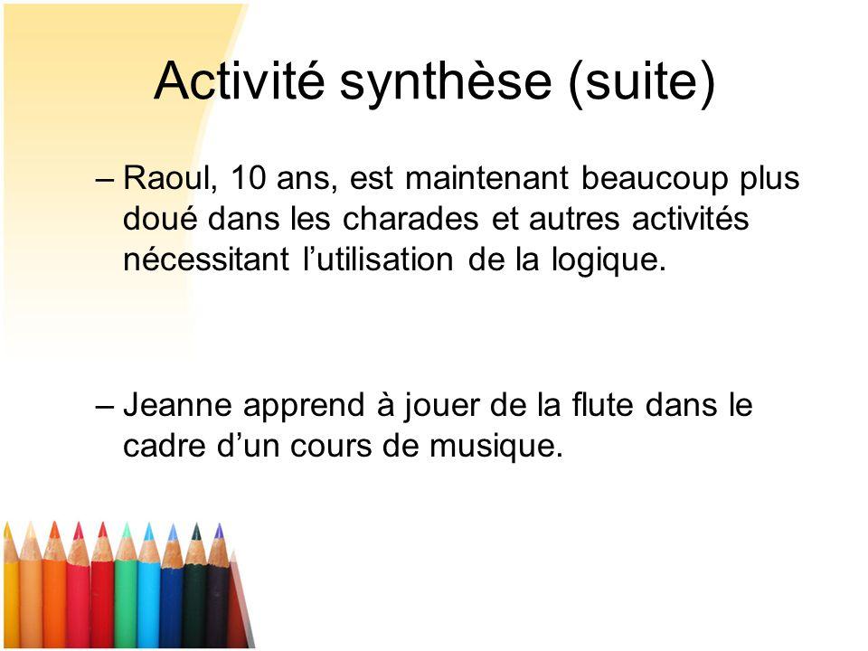Activité synthèse (suite)