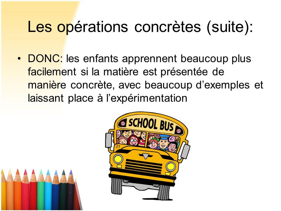 Les opérations concrètes (suite):