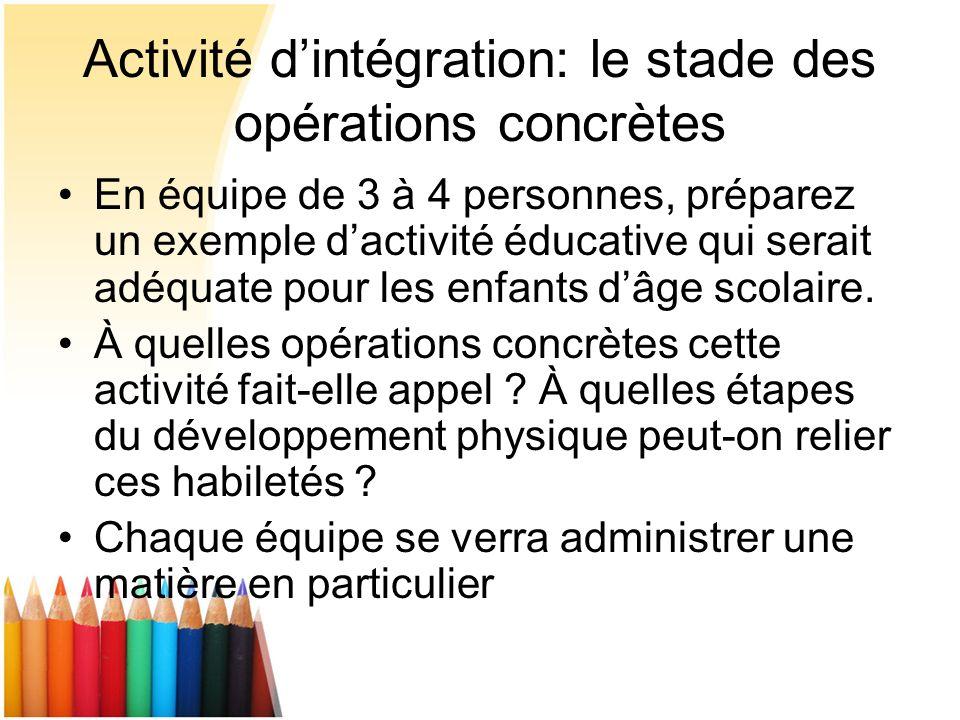 Activité d'intégration: le stade des opérations concrètes