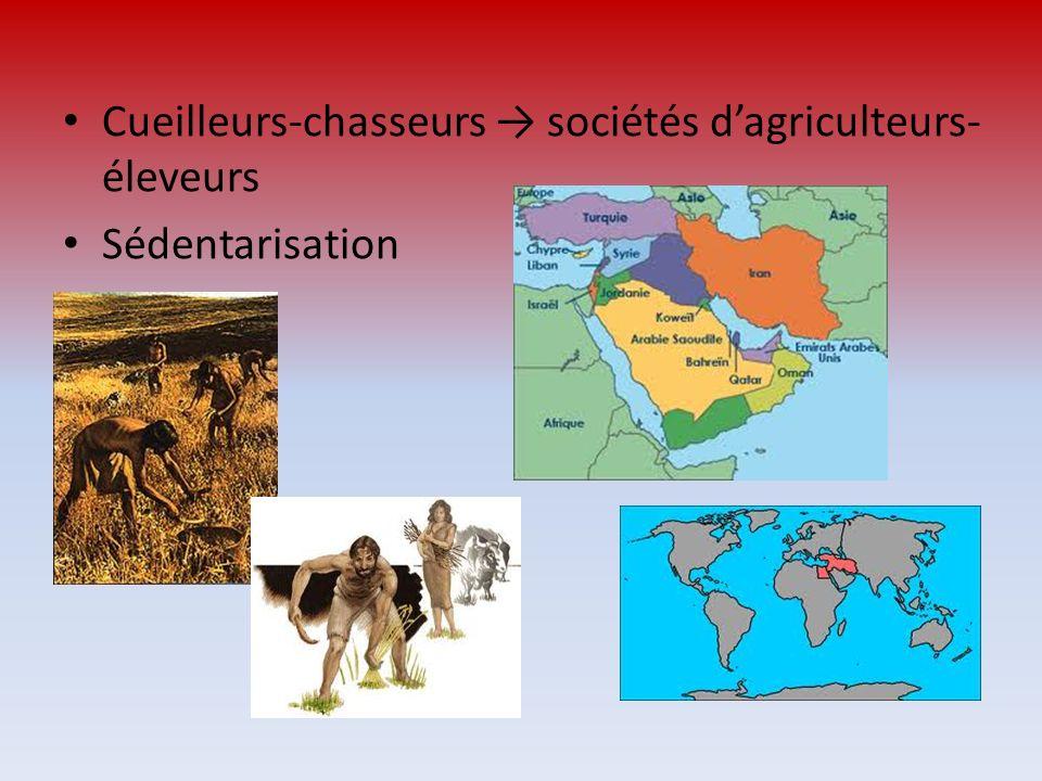 Cueilleurs-chasseurs → sociétés d'agriculteurs-éleveurs