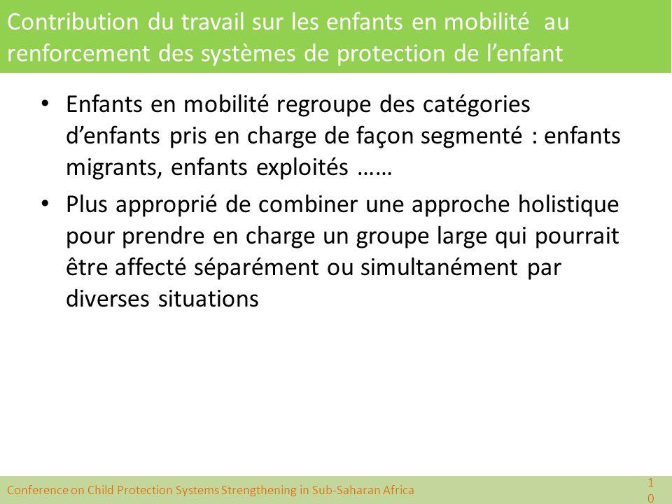 Contribution du travail sur les enfants en mobilité au renforcement des systèmes de protection de l'enfant