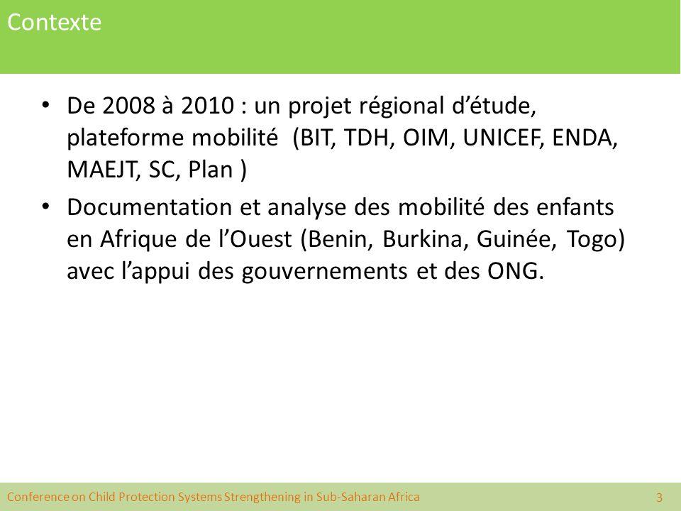 Contexte De 2008 à 2010 : un projet régional d'étude, plateforme mobilité (BIT, TDH, OIM, UNICEF, ENDA, MAEJT, SC, Plan )
