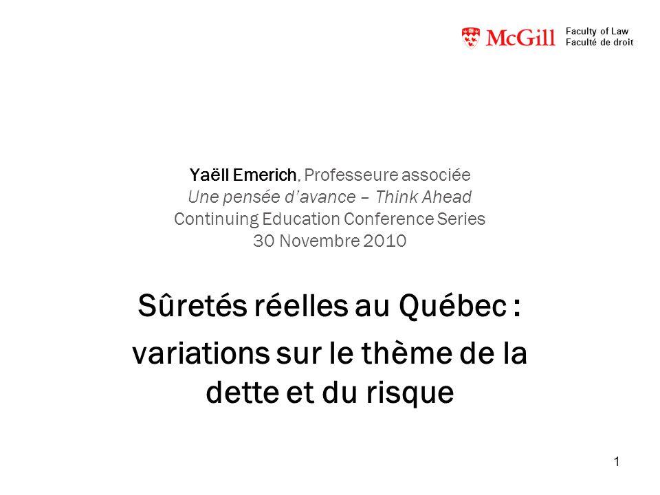 Sûretés réelles au Québec :
