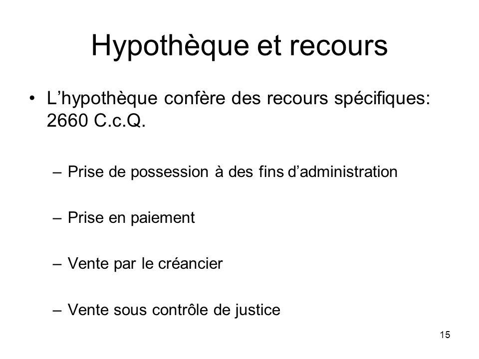 Hypothèque et recours L'hypothèque confère des recours spécifiques: 2660 C.c.Q. Prise de possession à des fins d'administration.