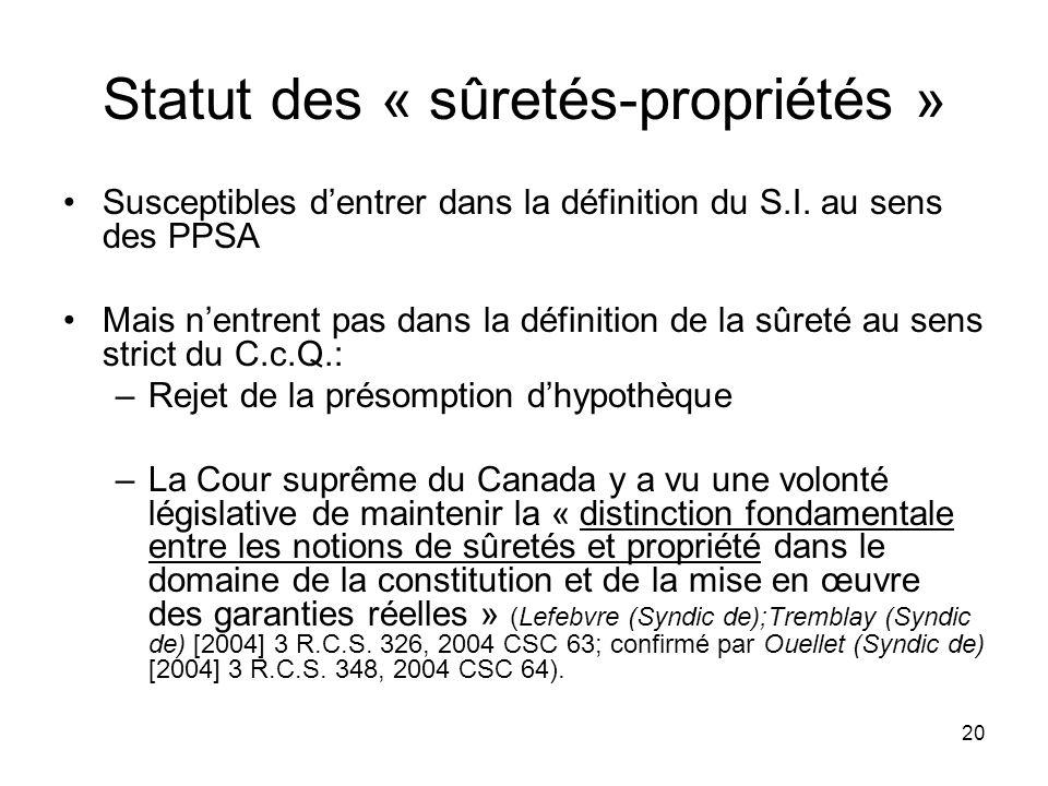 Statut des « sûretés-propriétés »
