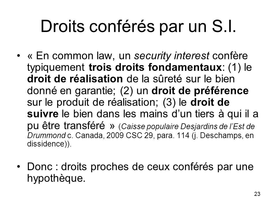 Droits conférés par un S.I.