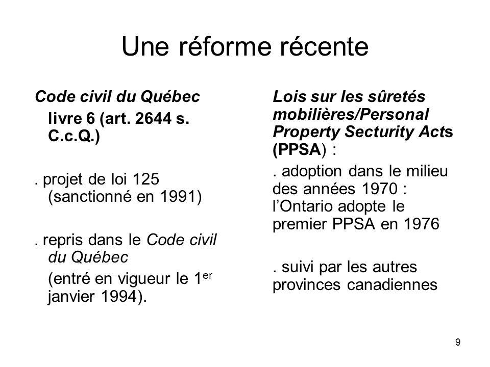 Une réforme récente Code civil du Québec livre 6 (art. 2644 s. C.c.Q.)