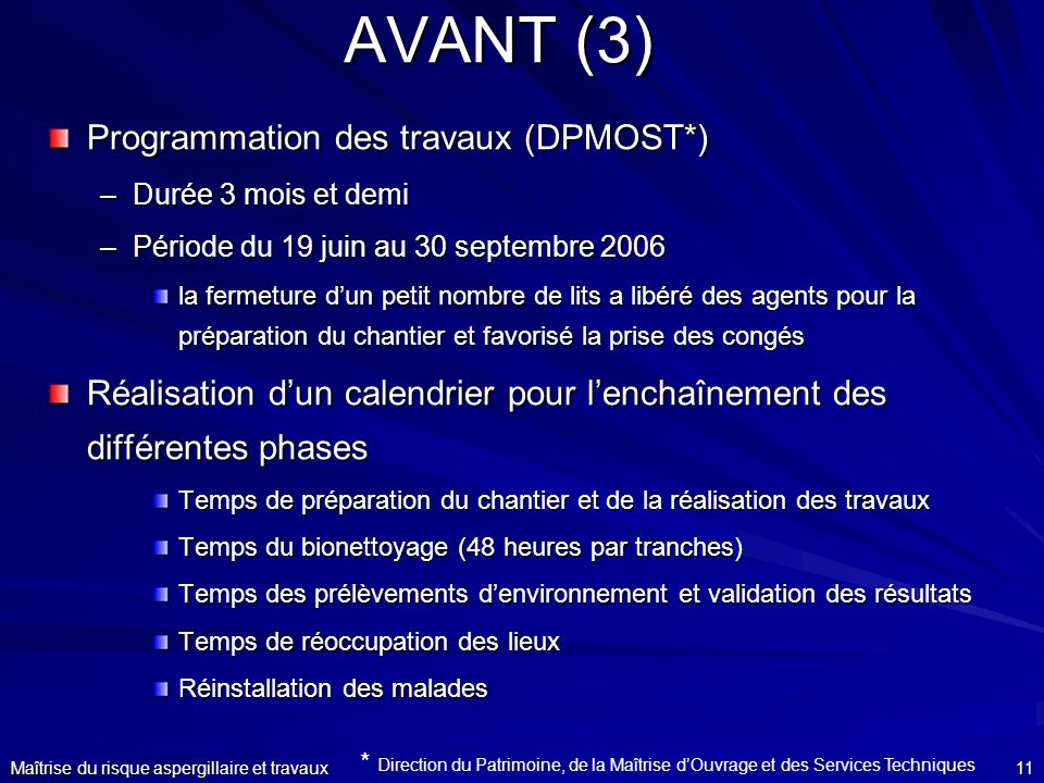 AVANT (3) Programmation des travaux (DPMOST*)