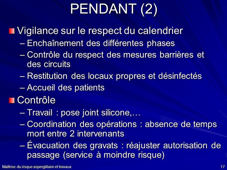 PENDANT (2) Vigilance sur le respect du calendrier Contrôle
