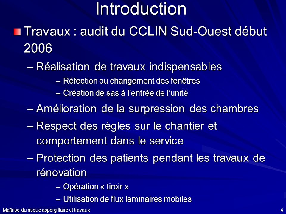 Introduction Travaux : audit du CCLIN Sud-Ouest début 2006