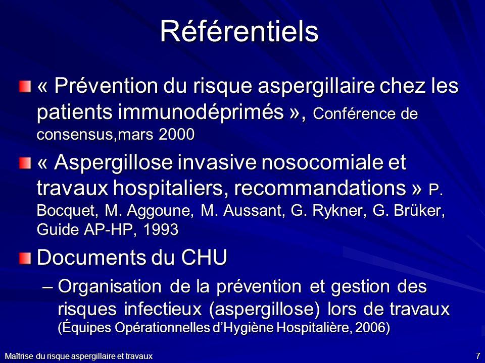 Référentiels « Prévention du risque aspergillaire chez les patients immunodéprimés », Conférence de consensus,mars 2000.