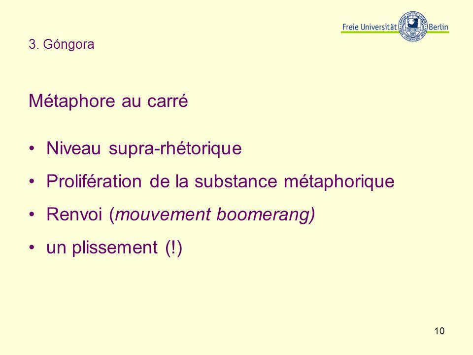 Niveau supra-rhétorique Prolifération de la substance métaphorique