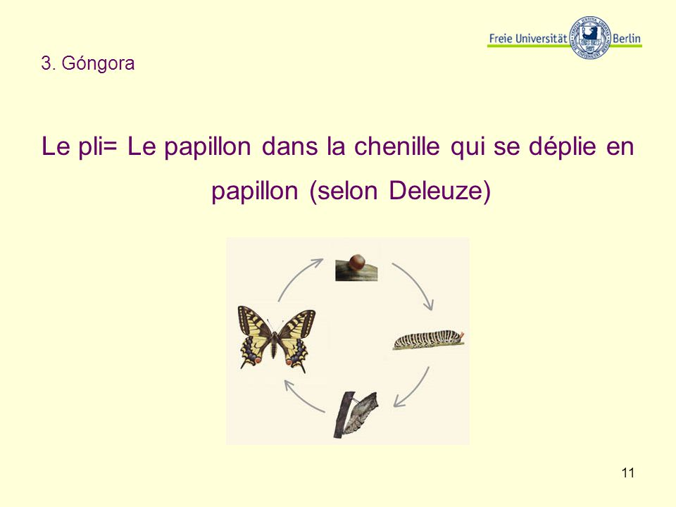 3. Góngora Le pli= Le papillon dans la chenille qui se déplie en papillon (selon Deleuze)