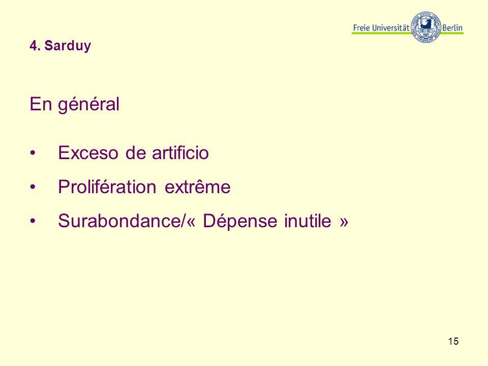Prolifération extrême Surabondance/« Dépense inutile »