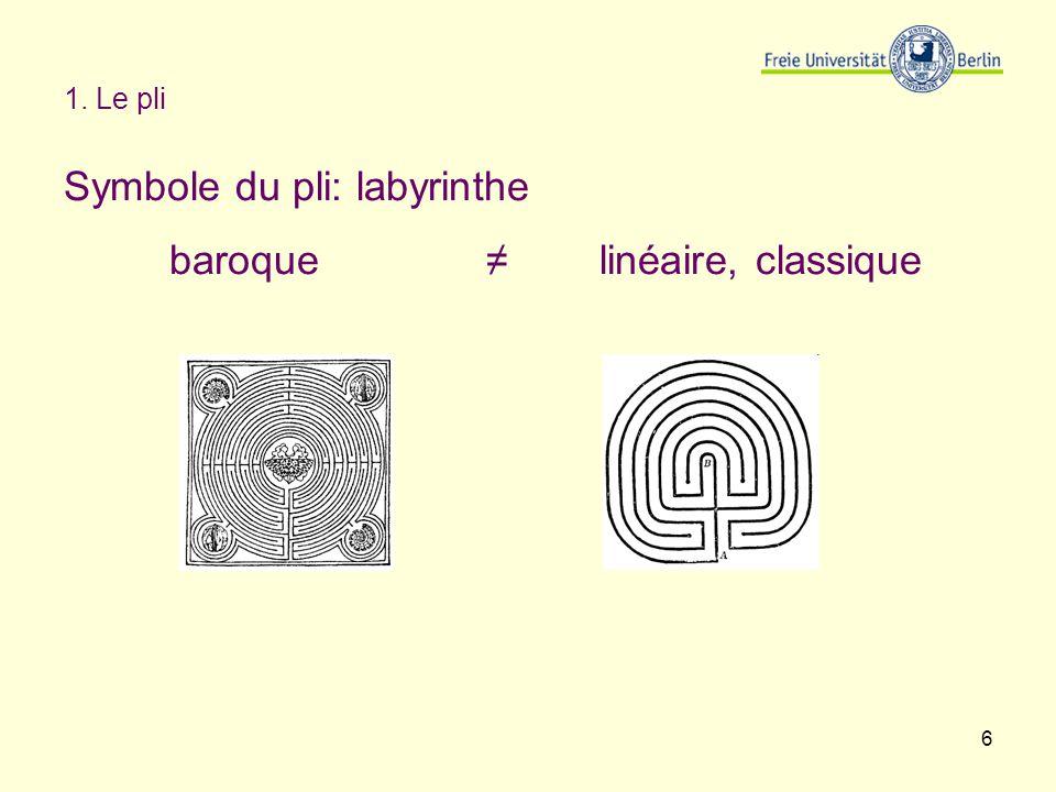 Symbole du pli: labyrinthe baroque ≠ linéaire, classique