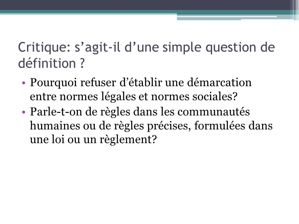 Critique: s'agit-il d'une simple question de définition