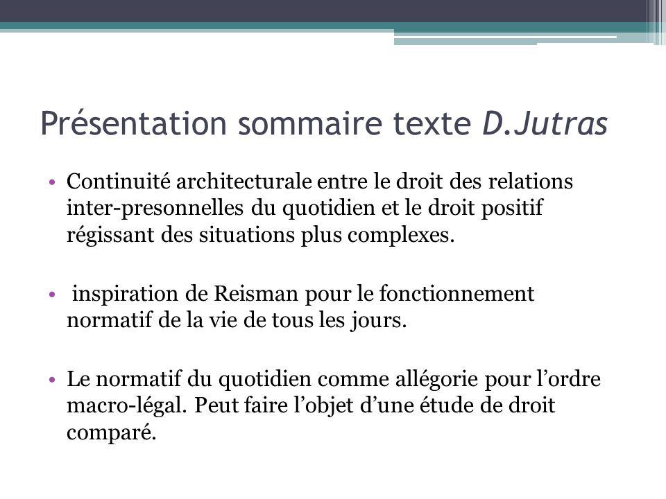 Présentation sommaire texte D.Jutras