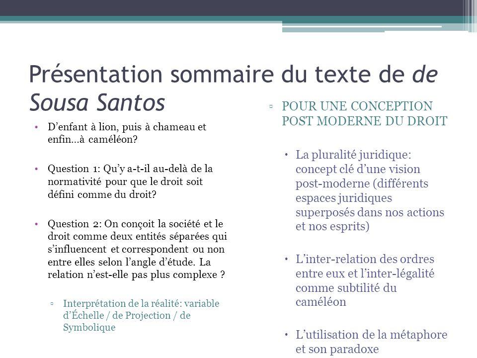 Présentation sommaire du texte de de Sousa Santos
