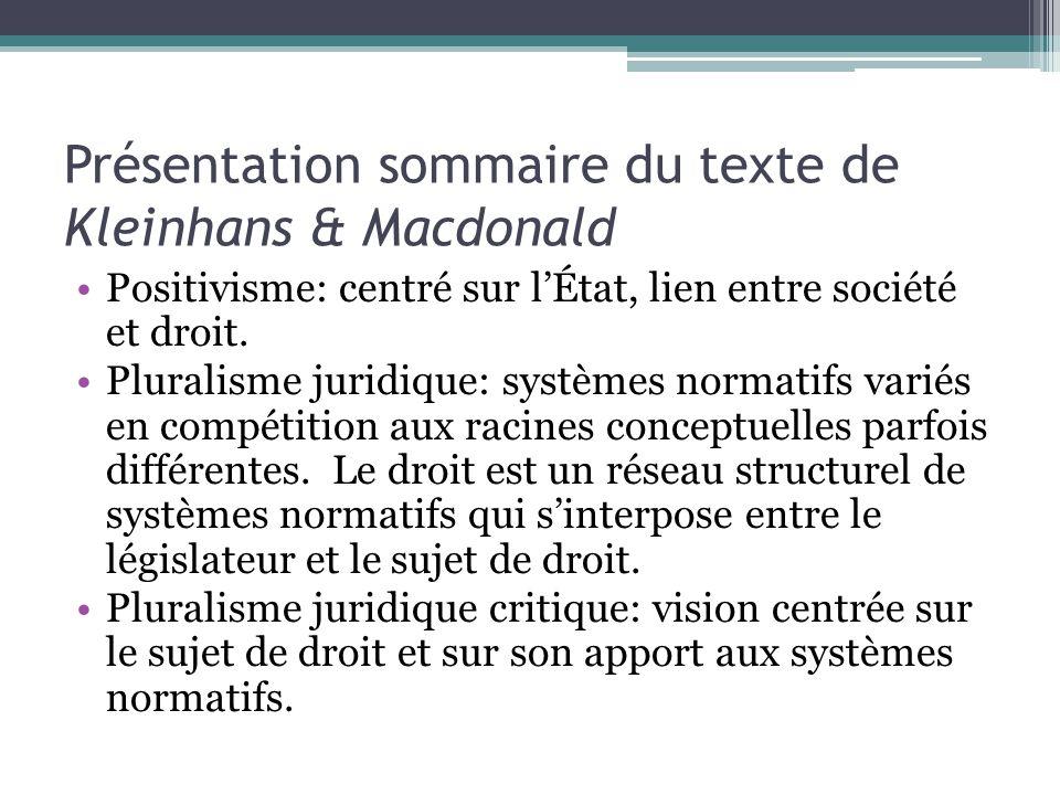 Présentation sommaire du texte de Kleinhans & Macdonald