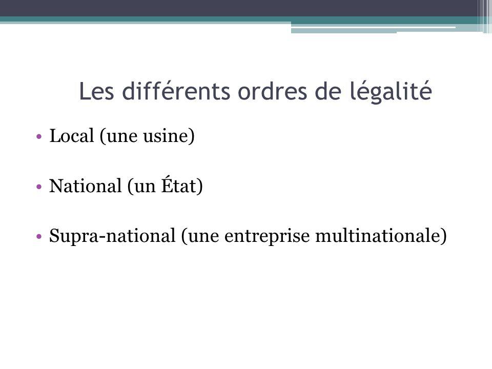Les différents ordres de légalité