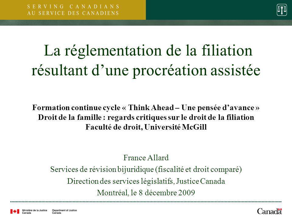 La réglementation de la filiation résultant d'une procréation assistée