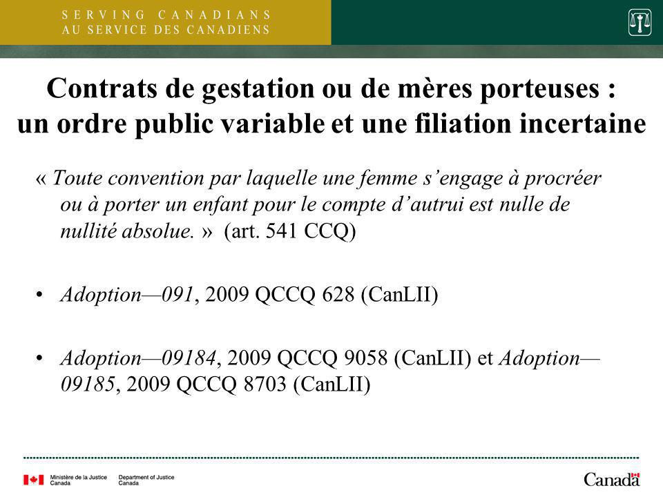 Contrats de gestation ou de mères porteuses : un ordre public variable et une filiation incertaine