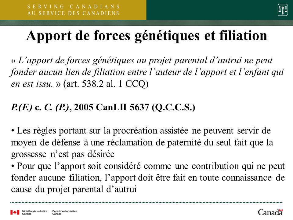 Apport de forces génétiques et filiation