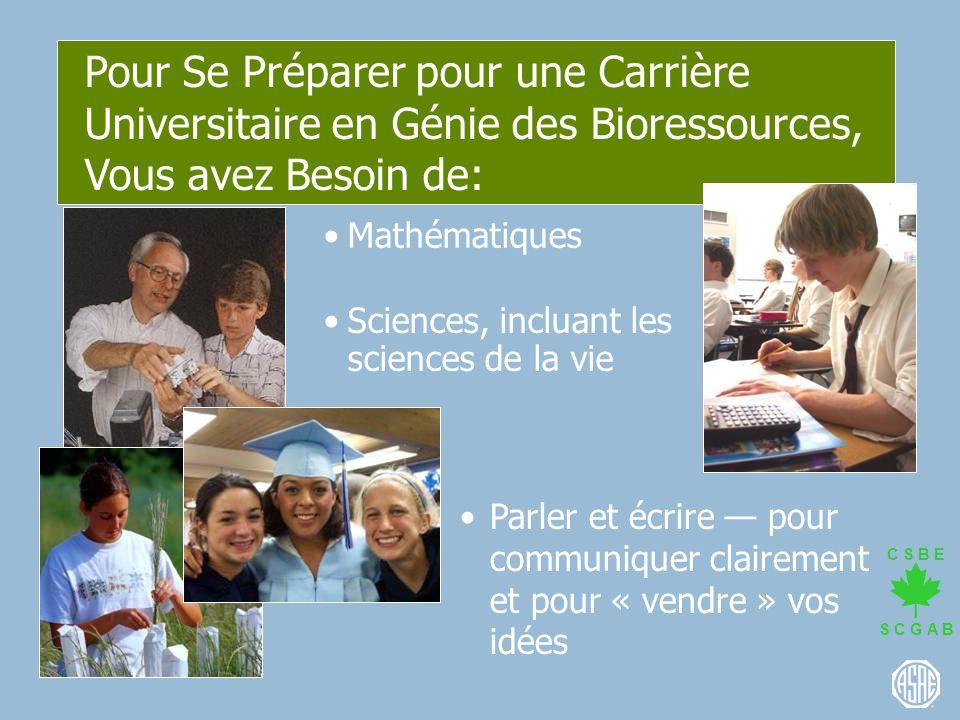Pour Se Préparer pour une Carrière Universitaire en Génie des Bioressources, Vous avez Besoin de:
