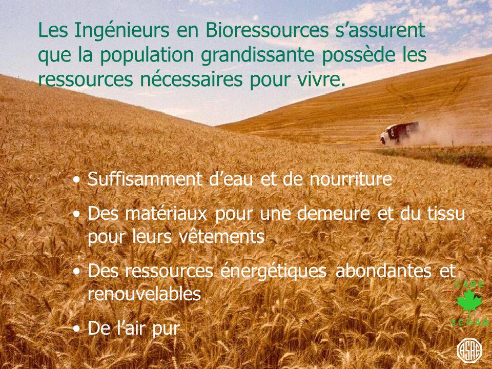 Les Ingénieurs en Bioressources s'assurent que la population grandissante possède les ressources nécessaires pour vivre.