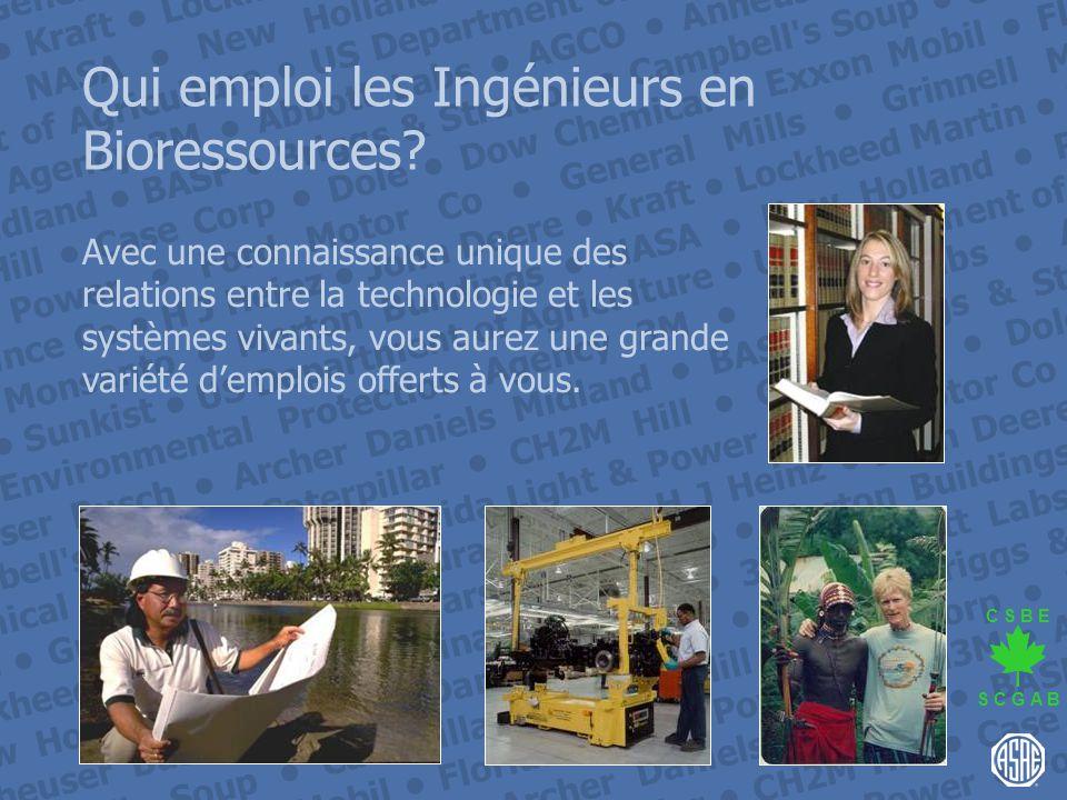 Qui emploi les Ingénieurs en Bioressources