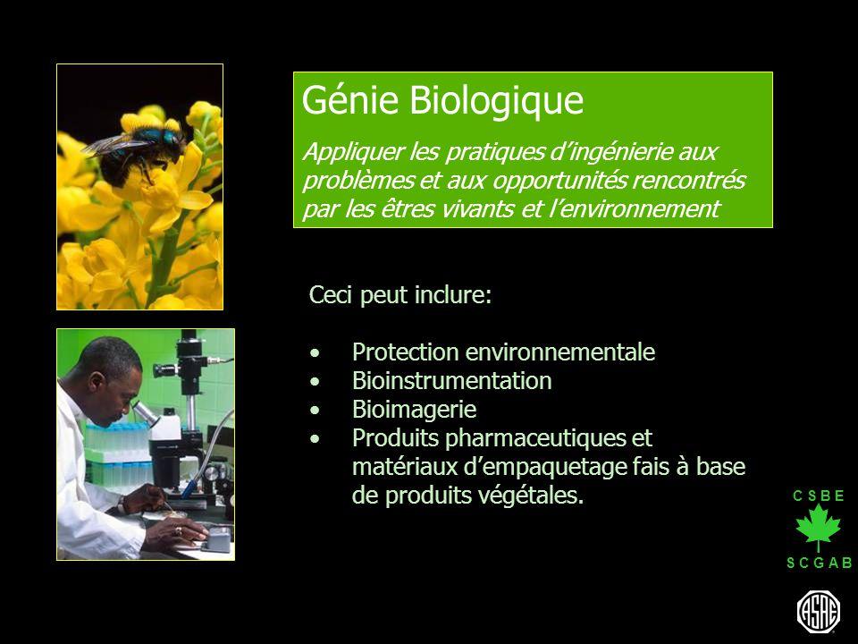 Génie Biologique Appliquer les pratiques d'ingénierie aux problèmes et aux opportunités rencontrés par les êtres vivants et l'environnement.