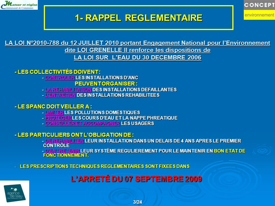 1- RAPPEL REGLEMENTAIRE