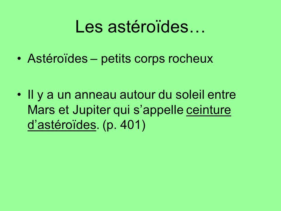 Les astéroïdes… Astéroïdes – petits corps rocheux