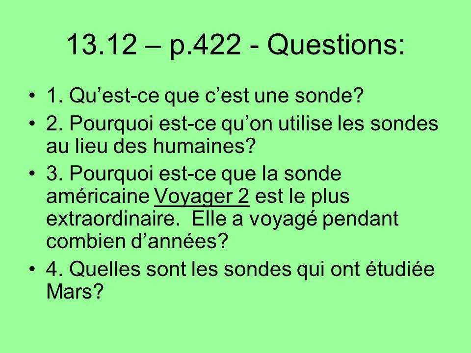 13.12 – p.422 - Questions: 1. Qu'est-ce que c'est une sonde
