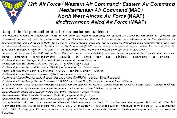 12th Air Force / Western Air Command / Eastern Air Command
