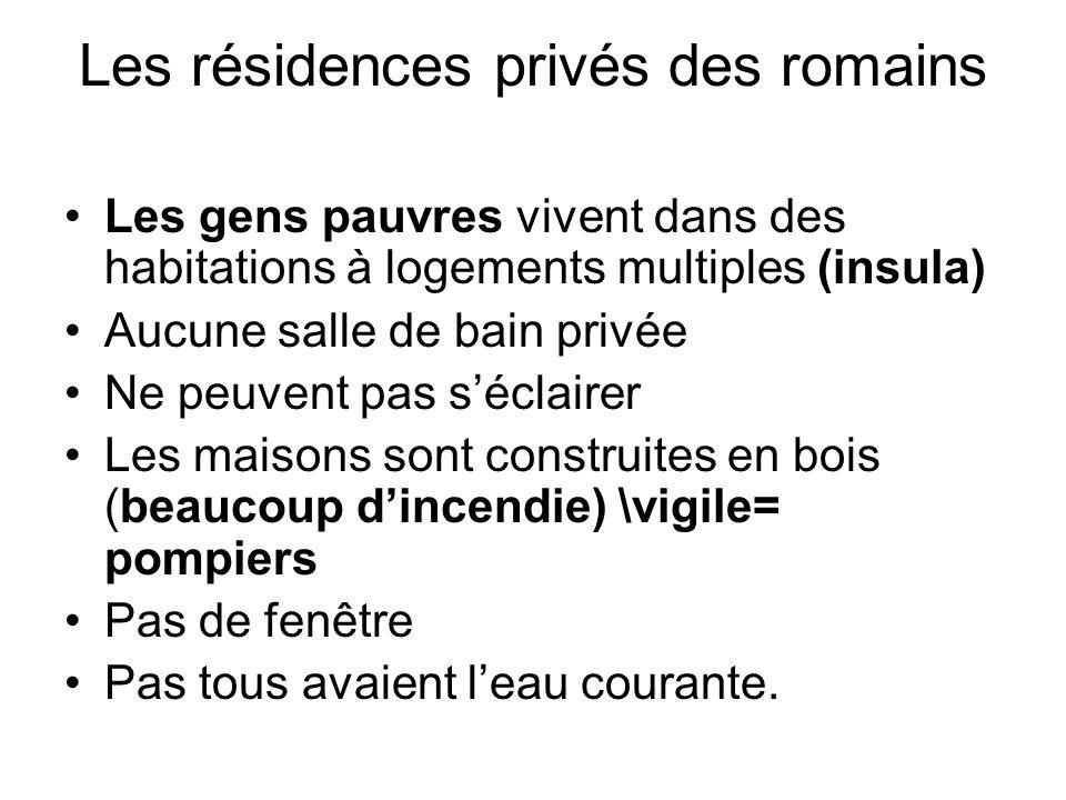 Les résidences privés des romains