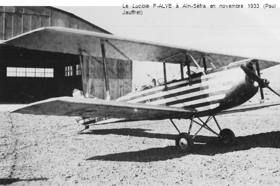 Le Luciole F-ALYE à Aïn-Séfra en novembre 1933 (Paul Jauffret)
