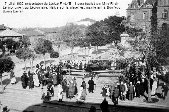 17 juillet 1932, présentation du Luciole F-ALYE – Il sera baptisé par Mme Rheim.