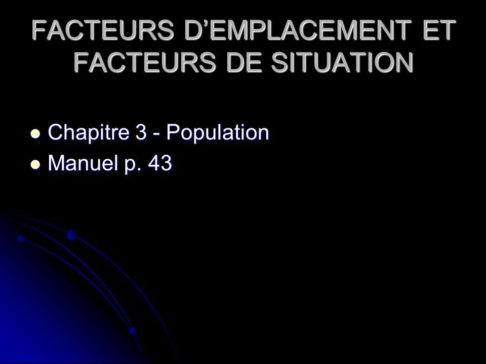 FACTEURS D'EMPLACEMENT ET FACTEURS DE SITUATION