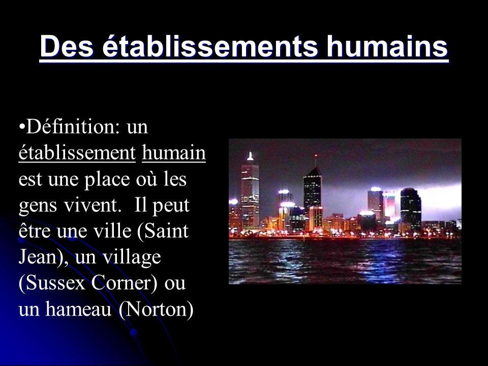 Des établissements humains