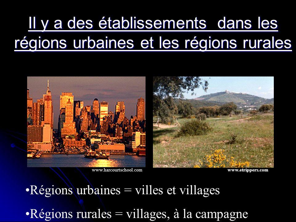 Il y a des établissements dans les régions urbaines et les régions rurales