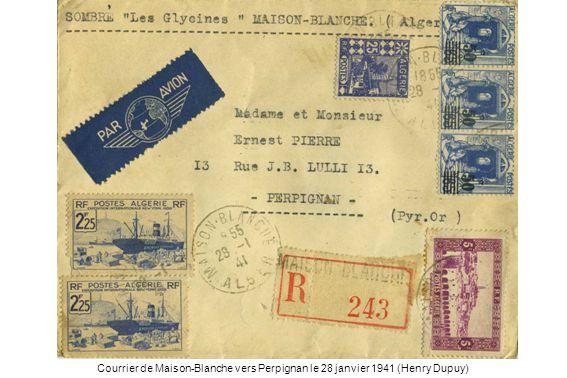 Courrier de Maison-Blanche vers Perpignan le 28 janvier 1941 (Henry Dupuy)