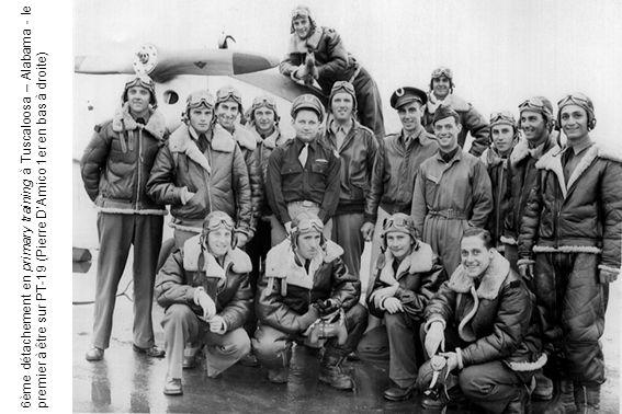 6ème détachement en primary training à Tuscaloosa – Alabama - le premier à être sur PT-19 (Pierre D'Amico 1er en bas à droite)
