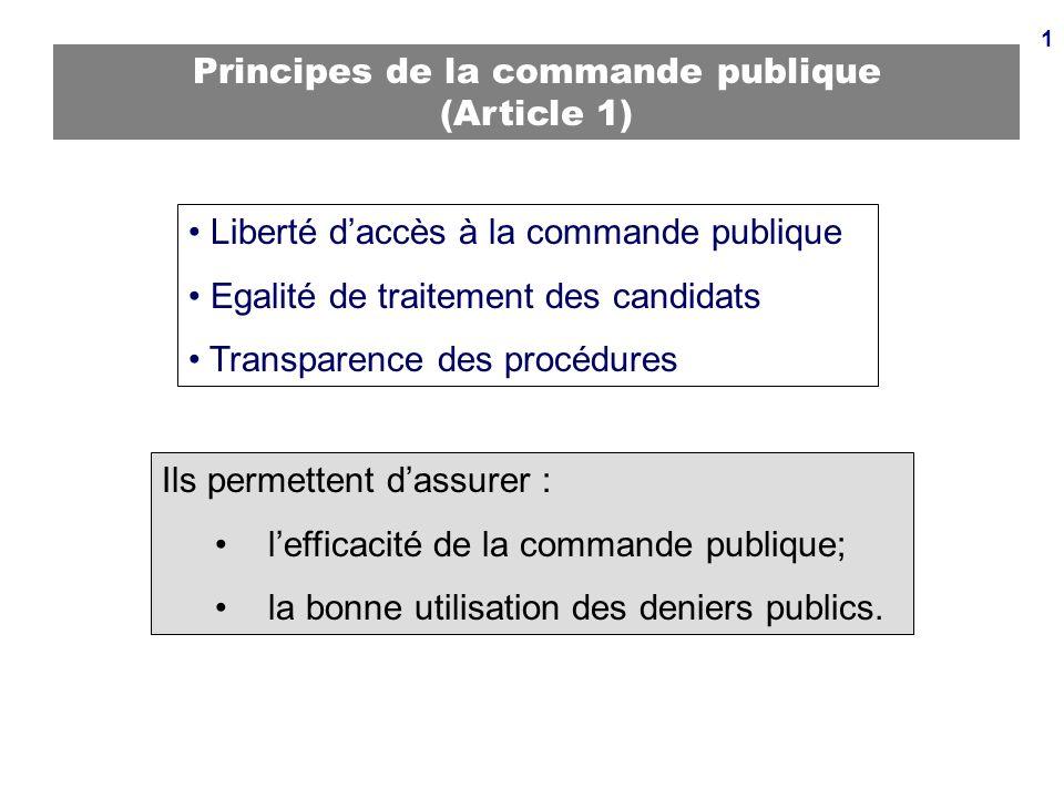 Principes de la commande publique (Article 1)
