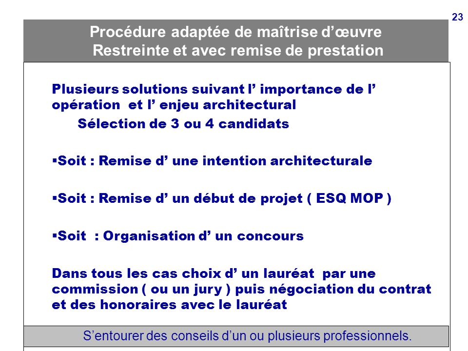 Principes de la commande publique article 1 ppt video for Contrat de maitrise d oeuvre